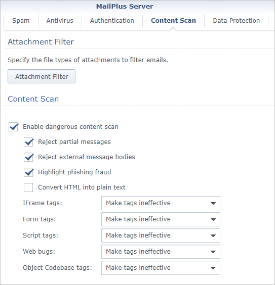 Screen shot of Synology MailPlus Server Content Scan settings tab