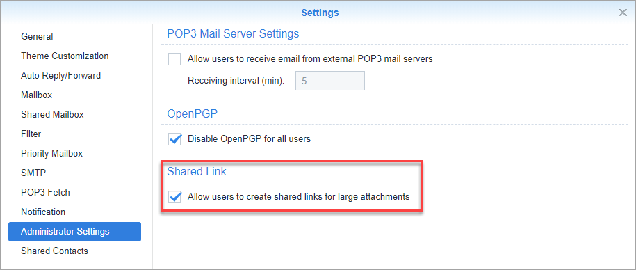 Screen shot of Synology MailPlus settings tab for enabling share links