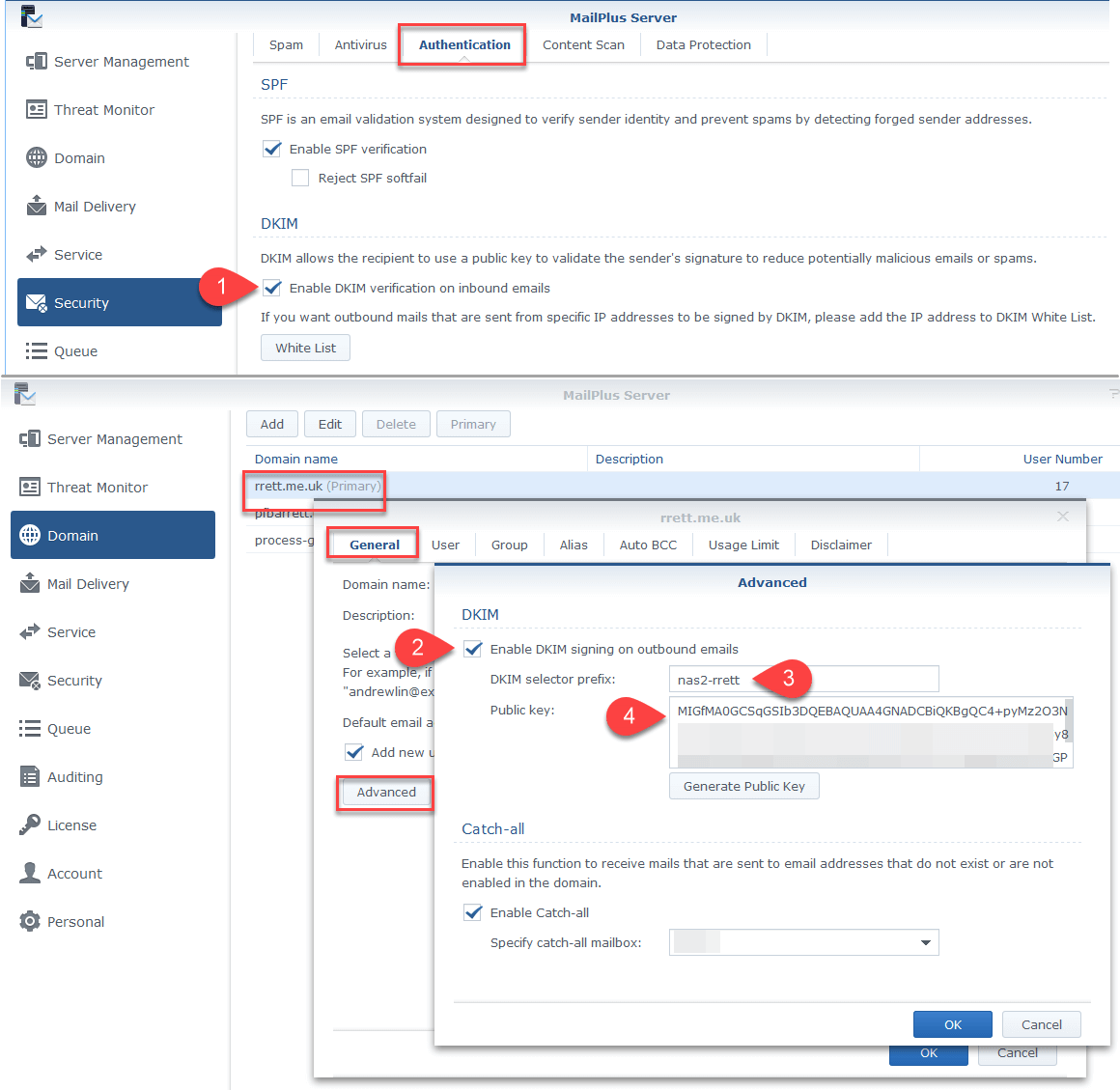 Screenshot of set up screens for DKIM filters in Synology MailPlus Server