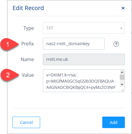 Screen shot of how to enter a DKIM TXT record on your domain