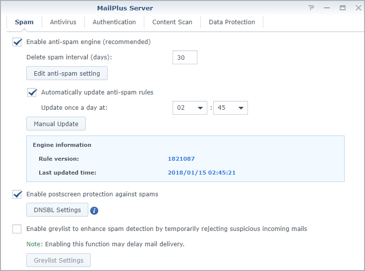 Screen shot of Synology MailPlus Server Spam settings tab