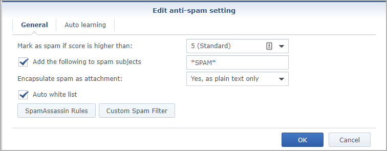 Screen shot of Synology MailPlus Server ant-spam settings