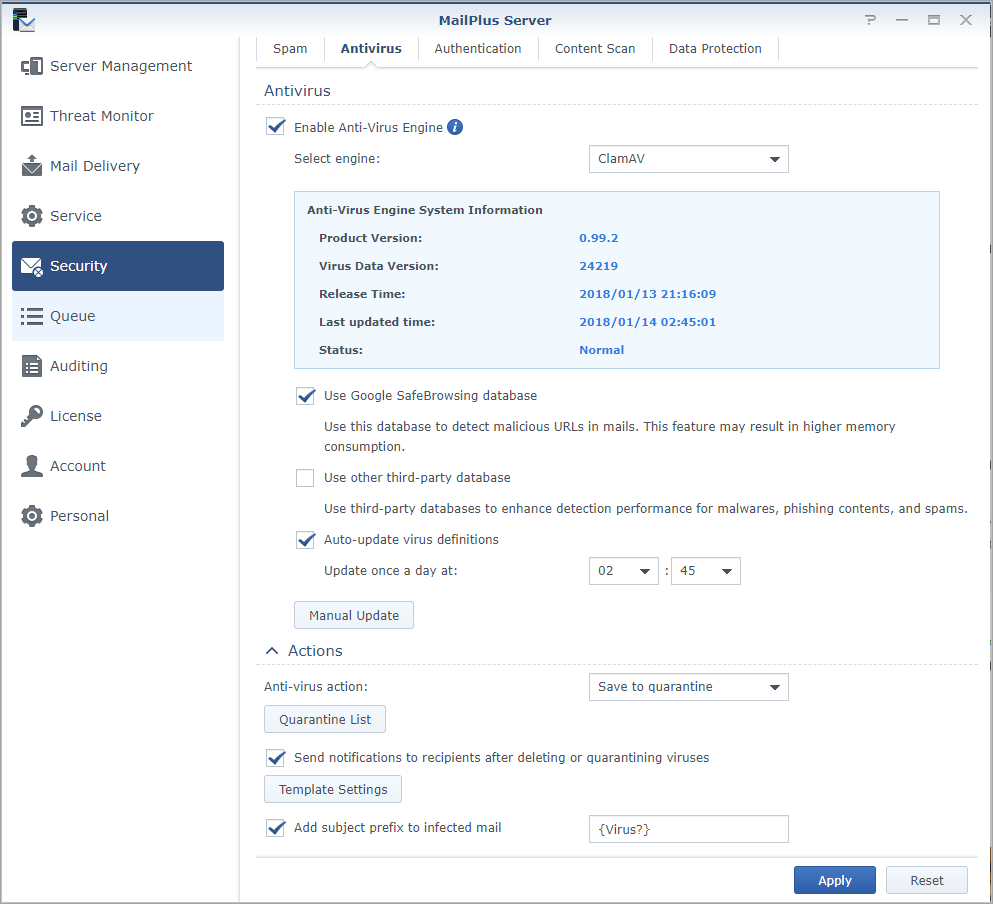 Screen shot of Synology MailPlus Server Anti-Virus settings tab