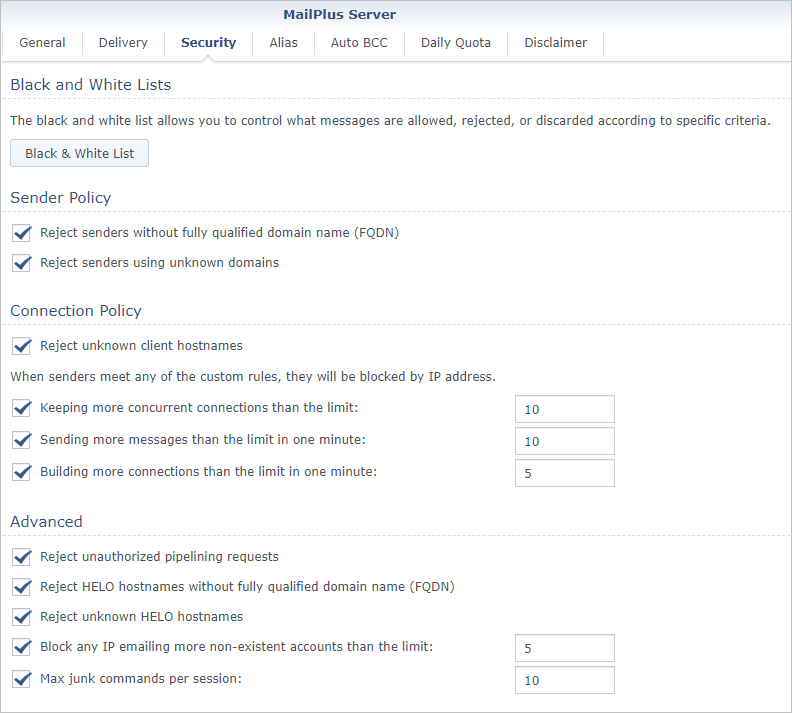 Screen shot of Synology MailPlus Server Security settings tab