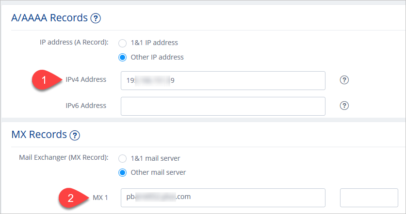 Screenshot on setting up A/AAA and MX records