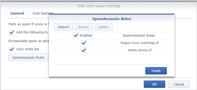 Screen shot of Synology MailPlus Server SpamAssassin rules