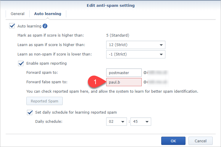 Screen shot of Synology MailPlus Server Auto-learning tab