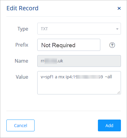 Screen shot of creating a TXT record for SPF