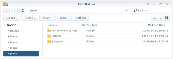 Enter new shared folder in Synology File Station