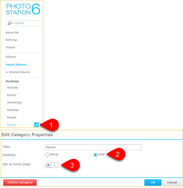 Making Portfolio Categories Visible in Synology Photo Station