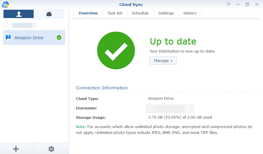Synology Cloud Sync to Amazon