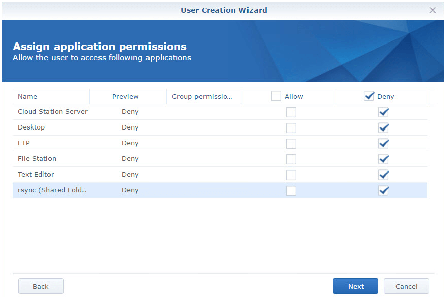 Application settings in DSM for Synology Photo Station
