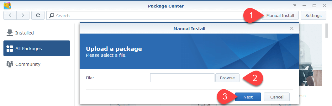 Screen shot of Synology Package Centre - how to do a manual package installation